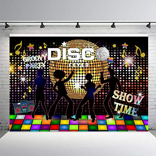 COMOPHOTO Disco Party Backdrop Neon Adults Scene Setters Party Decoration Birthday 7x5ft Event Banner Portrait Photo Studio Background ()