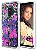 Coolden Case for Galaxy S9 Case Luxury Glitter Case with Dried Natural Flower Cute Girly Durable Shockproof 2 Layers Solid PC Cover Case Flexible TPU Frame for Samsung Galaxy S9, Purple Flower