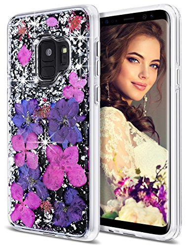 Coolden Galaxy S9 Case, Luxury Glitter Case Dried Natural Flower Cute Girly Durable Shockproof 2-Layers Solid PC Cover Case + Flexible TPU Frame Samsung Galaxy S9 (2018), Purple Flower
