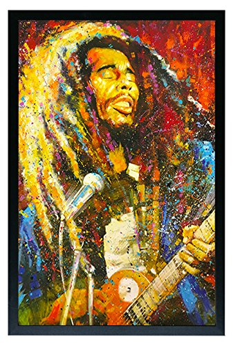 Bob Marley Playing Guitar Abtract Painting Framed Poster 24x