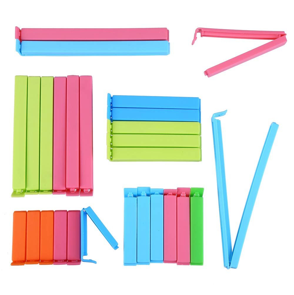 VEYLIN 27 Pieces Plastic Sealing Clips for Food and Snacks Storage Bag Clips in 5 Sizes, Assorted Colors