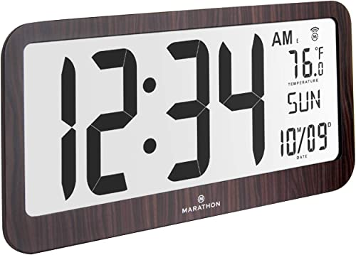 Marathon Slim Jumbo Panoramic Atomic Wall Clock with Date and Indoor Temperature. Commercial Grade with Big 6-Inch Numbers, Alarm and Stand – Batteries Included – CL030033JUMBO-WD Wood Grain Finish