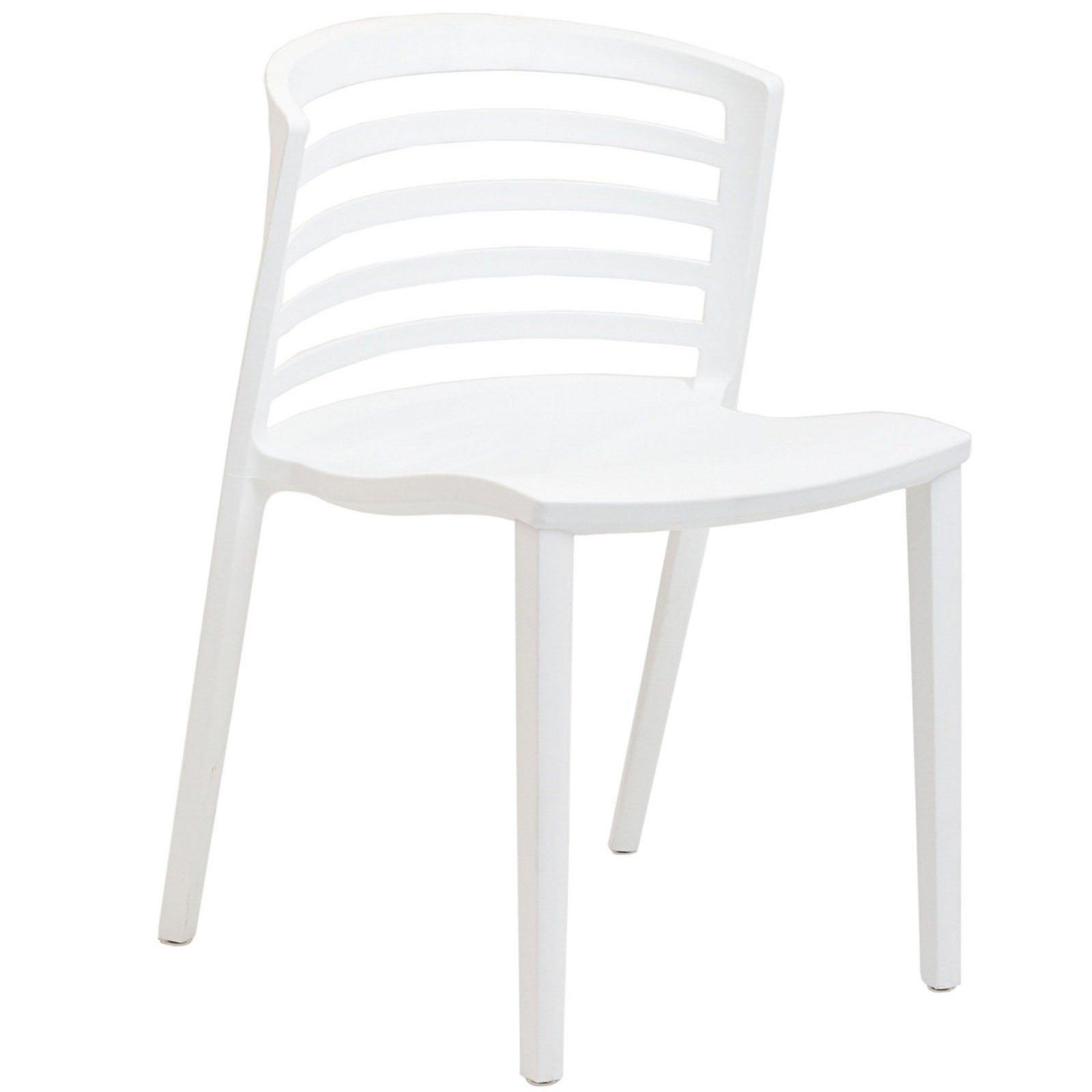 Modway Curvy Plastic Chair, White