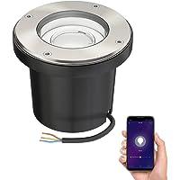 ledscom.de Smarte lámpara empotrable en el suelo BOFU para el exterior giratorio acero inoxidable redondo IP67 150mm Ø…