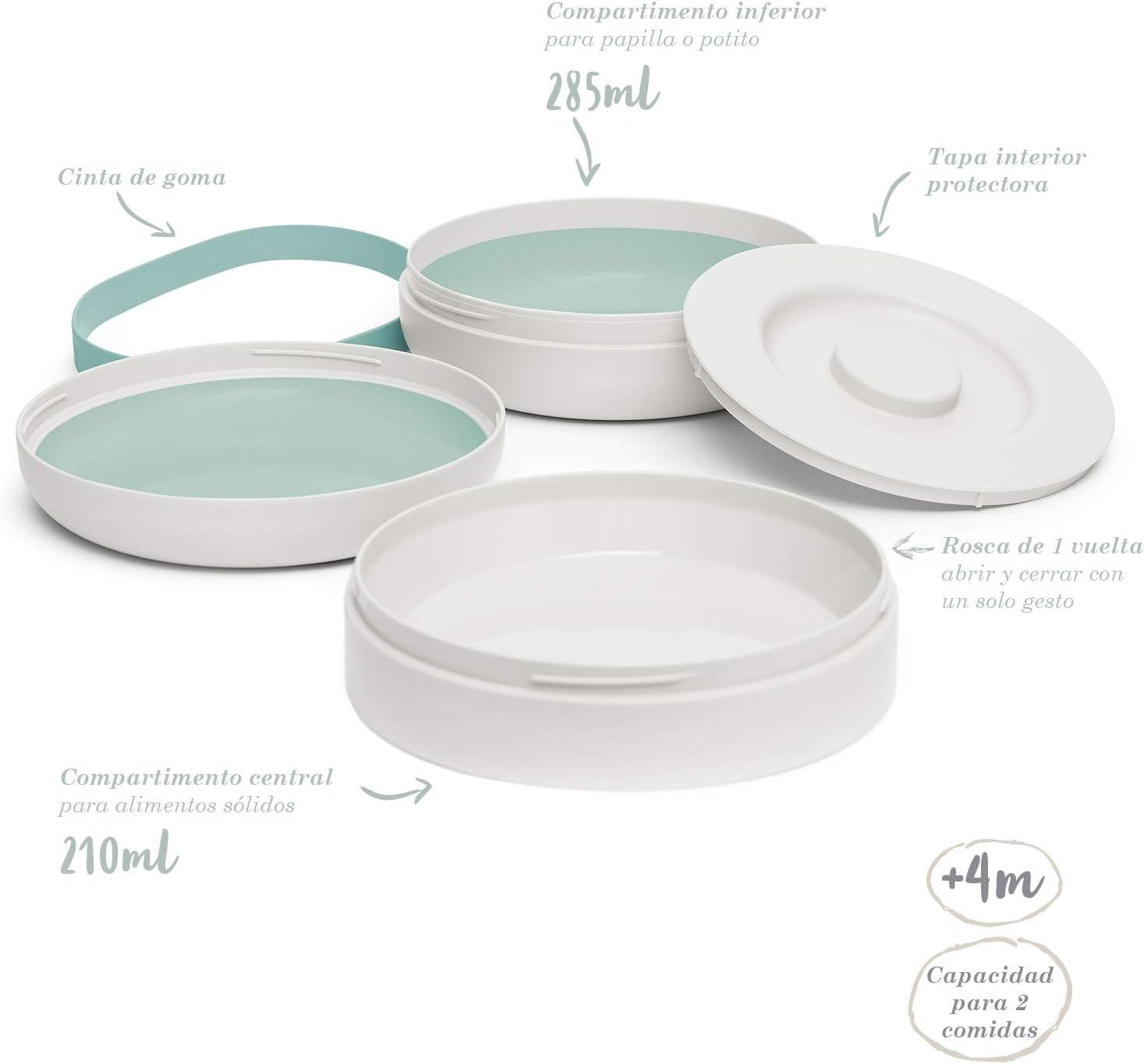 Suavinex Color Gris 4 Meses Set Platos Combinables Para Comer Fuera de Casa Capacidad 2 Comidas Apto Para Microondas y Lavavajillas Para Beb/és