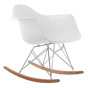 Exklusiver Designer Schaukelstuhl   Hochwertiger Relax Stuhl, RAR Füße    Helles Holz, Retro Style