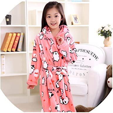 Kids Plush Fleece Bathrobe Shawl Collar Sleepwear for Boys Girls Aged 5-13