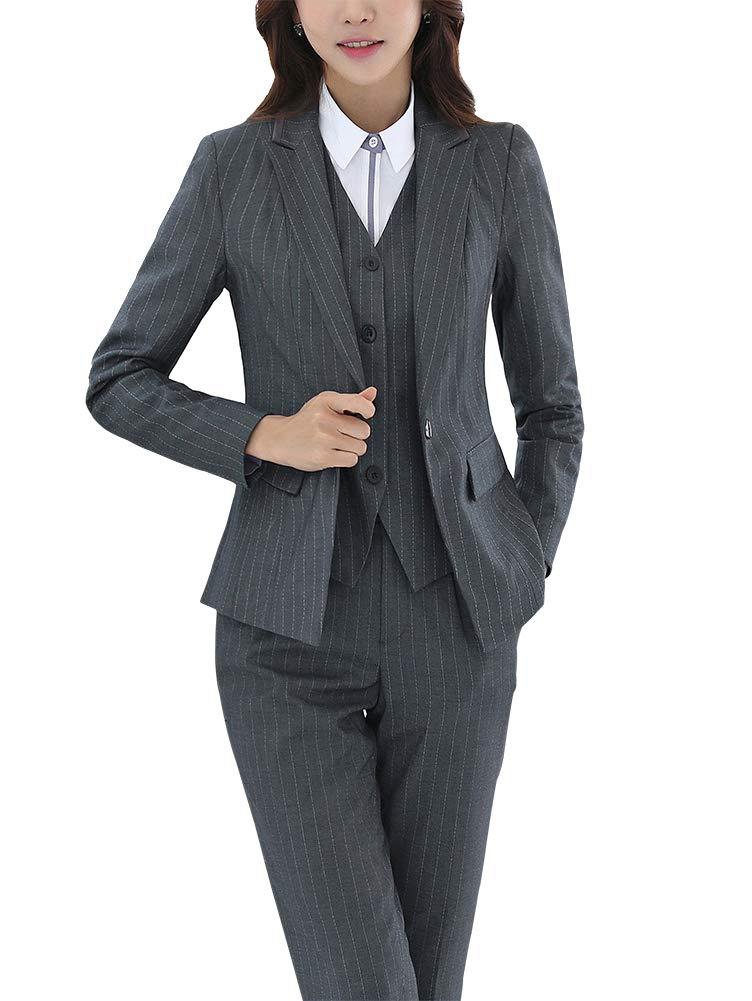 Women's Three Pieces Office Lady Stripe Blazer Business Suit Set Women Suits Work Skirt/Pant,Vest Jacket Grey
