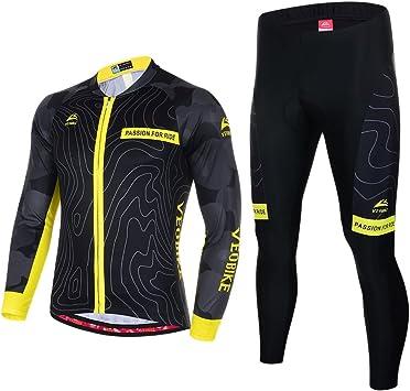 Asvert Ropa de Bicicleta Hombre MTB Traje de Ciclismo Mangas Largas Maillot+Pantalones Equipación de Ciclista, Talla M-3XL: Amazon.es: Deportes y aire libre