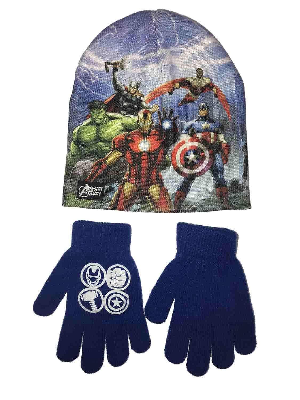 Marvel Boys Blue Avengers Assemble Winter Hat & Gloves Beanie Set