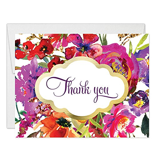 Classic Floral Blooms Thank You Cards with Envelopes (Pack of 50) Thanks Gracias Birthday Wedding Grad Party Thank You Notecards See Matching 'Let's Celebrate' Invites Excellent Value Notes VT0030 -