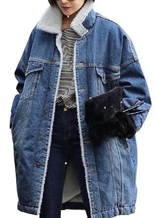 Amazon Com Ld Womens Winter Long Faux Fur Lined Denim Jacket Coat