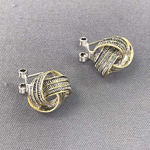 Classic Elegant Silver Gold Finish Love Knot Design Stud Back Earrings For Women Set