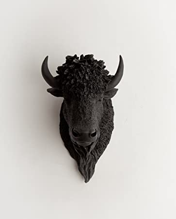the manstad black resin bison head black buffalo head mount wall decor by white - Animal Head Wall Decor