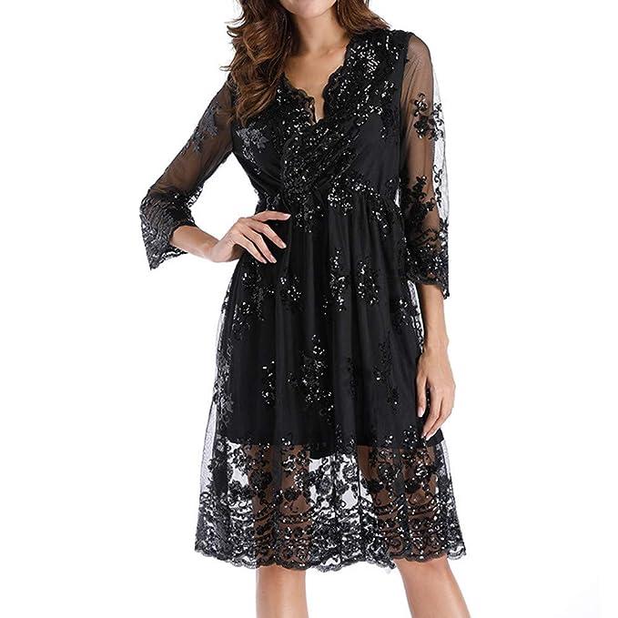Amazon.com: Roysberry - Vestido de mujer con cuello en V con ...