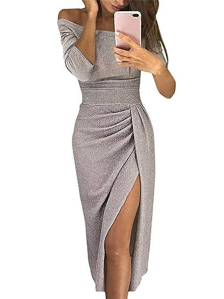 733e2a10ab5a ORANDESIGNE Damen Off Shoulder Kleider für Hochzeit Sexy Elegant  Maxikleider Glänzend Hoch Geschnitten Abendkleider Cocktailkleid   Amazon.de  Bekleidung