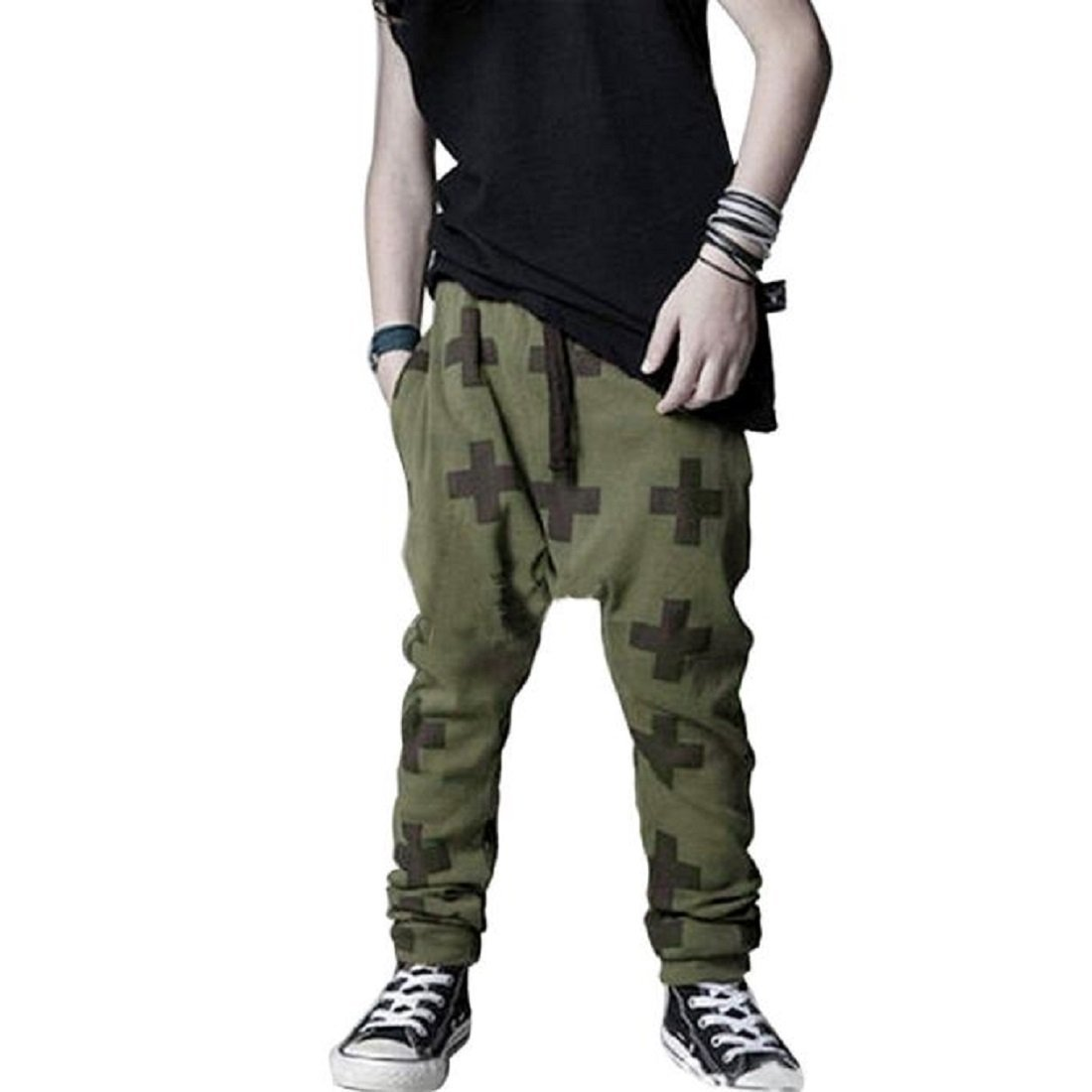 Kids Boys Cross Pattern Harem Pants Casual Sweatpants Baggy (3T, Fleece-lined Army Green)