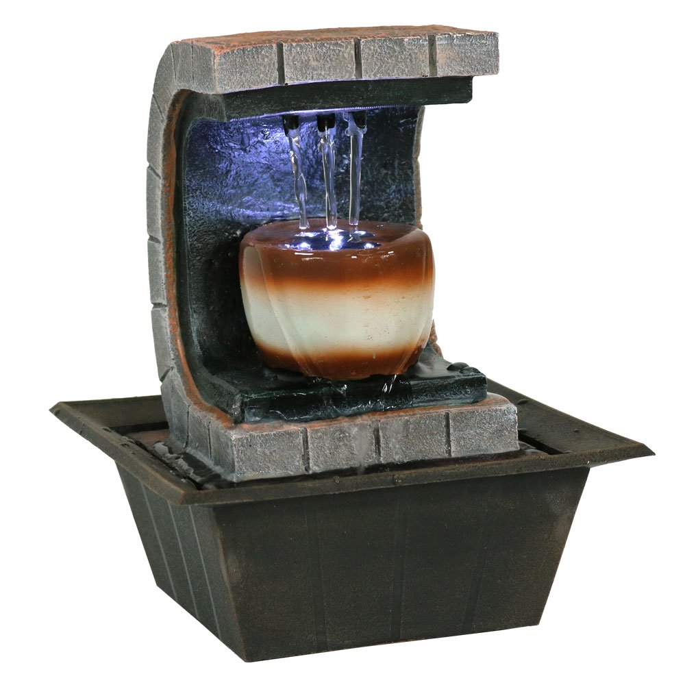 Sunnydaze Meditation Tabletop Fountain with LED Lights, Small Desktop Water Feature, Home or Office, 10 Inch Sunnydaze Decor 1506-692