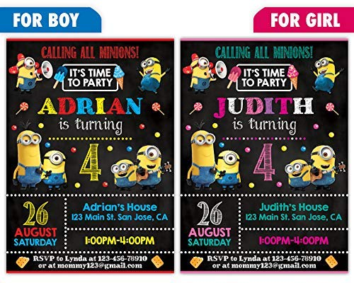 Custom Minions Birthday Party Invitations For Boy Or Girl 10pc 60pc 4x6 5x7 Cards With White Envelopes Printed On Premium 265gsm Card