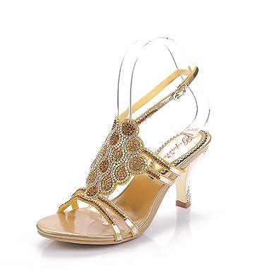 826acb0f0 Unicrystal Women s Leaf Pattern Spool Heel Rhinestone Evening Bridal  Wedding Prom Sandals Size Gold 4 M