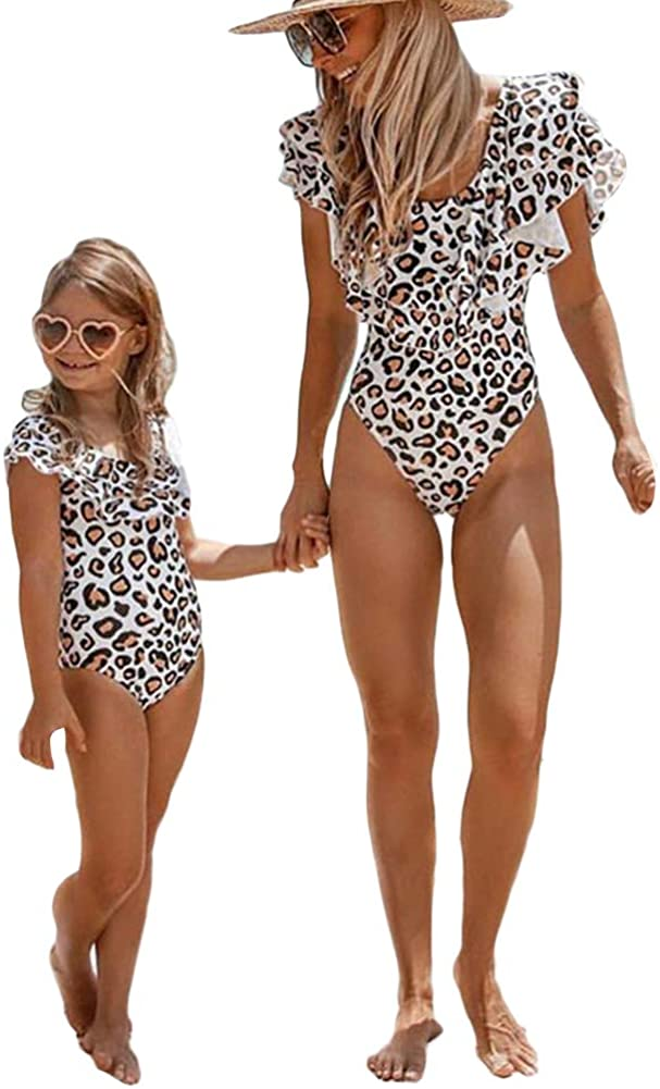 Family Matching Bikini Siamese Swimsuit One-Piece Swimsuit Fashion Printed Off Shoulder Open Back Bathing Suit