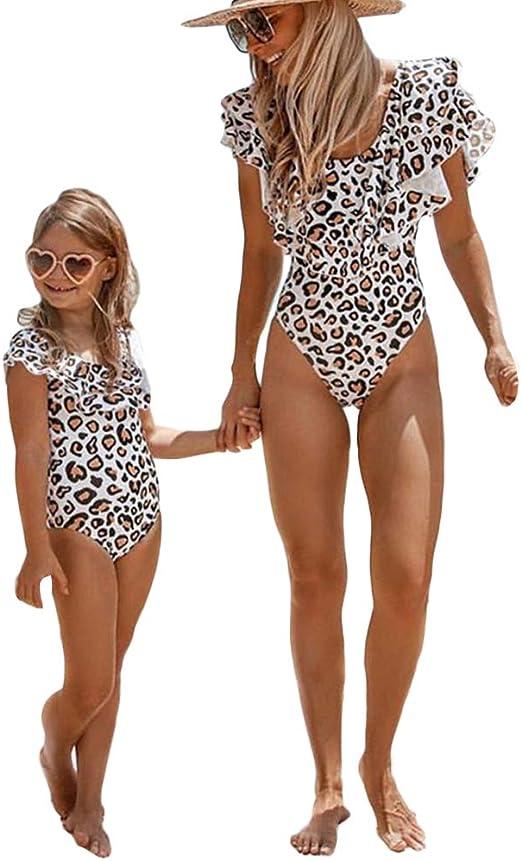 Elightvap Family Matching Mother Child Letter Print Swimsuit Monokini Women Girl One Piece Bathing Suit Swimwear