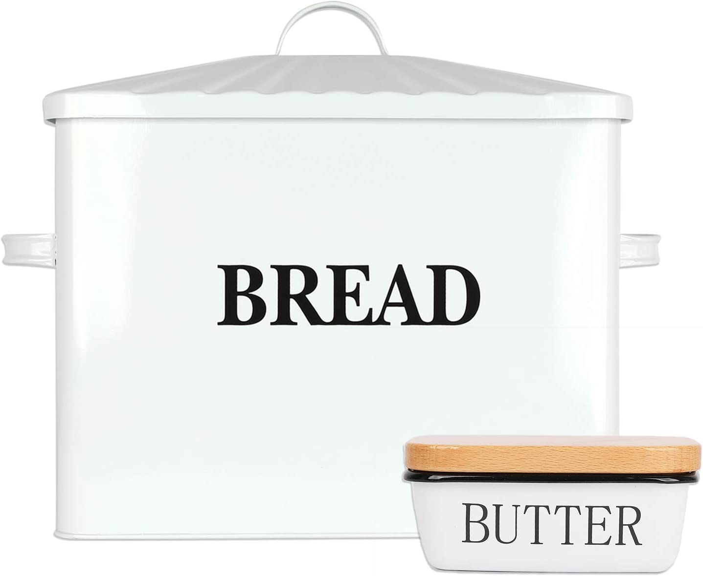 """Houseables Bread Box & Butter Dish Set, 15.25"""" x 12.5"""" x 7"""", Extra Large, Metal, Enameled Storage Containers, Food Bin w/Lid, Rustic Enamelware, Vintage Decor, Farmhouse, Kitchen Counter Keeper"""