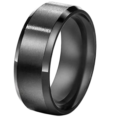 FANSING 8mm Stainless Steel Black Rings Wedding Bands for Womens