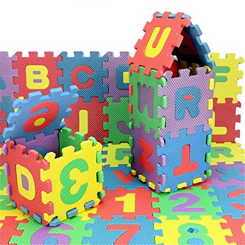 36 pcs EVA Educational Puzzle Foam Mat Interlocking Alphabet & Number - 36 Small Blocks (Grand Complete Alphabet Set)