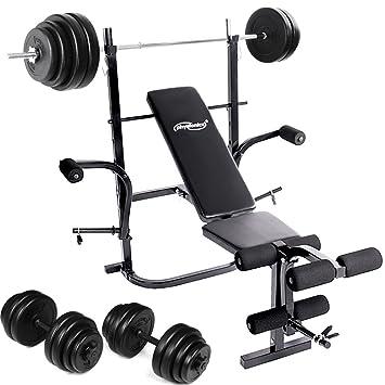 Physionics® - HNTLB01/C-SET1 - Banco de pesas + Mancuernas de 30 kg: Amazon.es: Deportes y aire libre