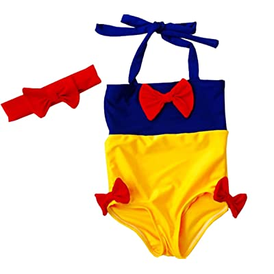 Taiycyxgan Toddler Girls One Piece Halter Swimsuit Bowknot Swimwear Bathing Suit with Headband