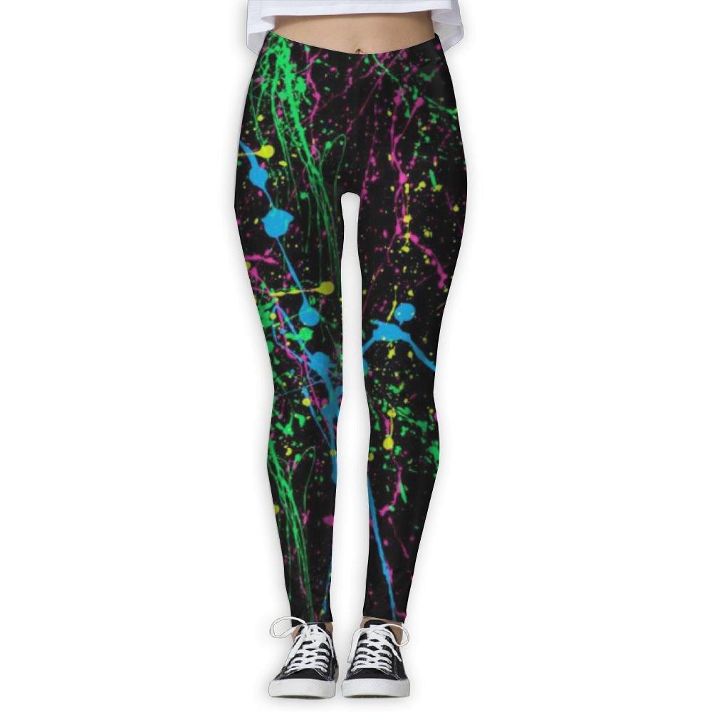c9e9e5fad1bfa Amazon.com: MOMENTO Fashion Yoga Pants Blue Neon Paint Splatter Stretch Workout  Leggings For Womens: Sports & Outdoors