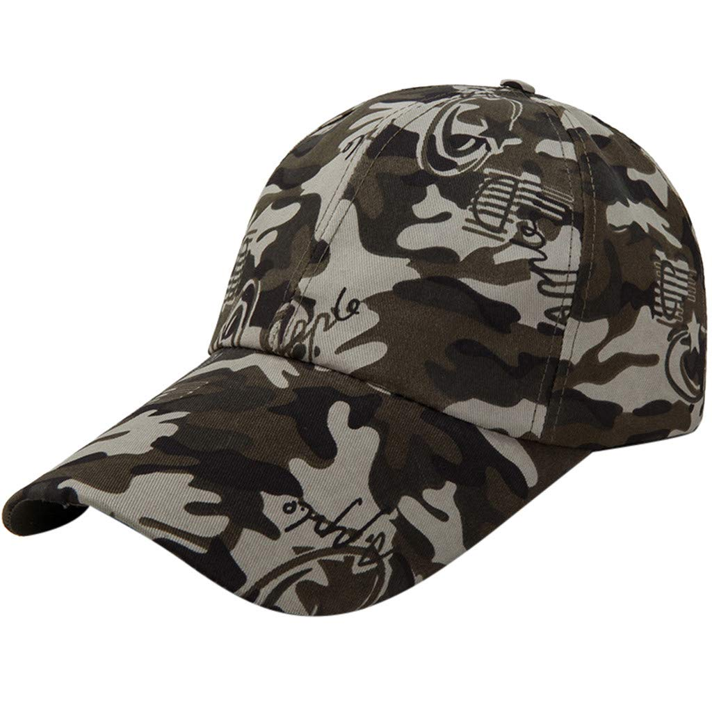 Quaanti Camouflage Baseball Cap Men Special Tactical Baseball Hat Boys Snapback Trucker Cap Classic Plain Work Sports Caps (D)