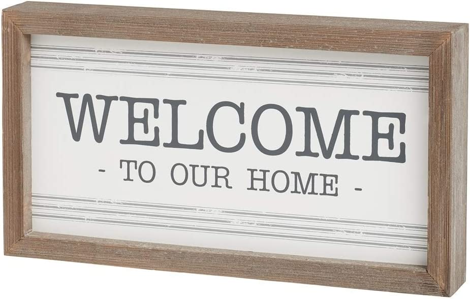 Wood-Framed Striped Box Sign (Welcome to Our Home)