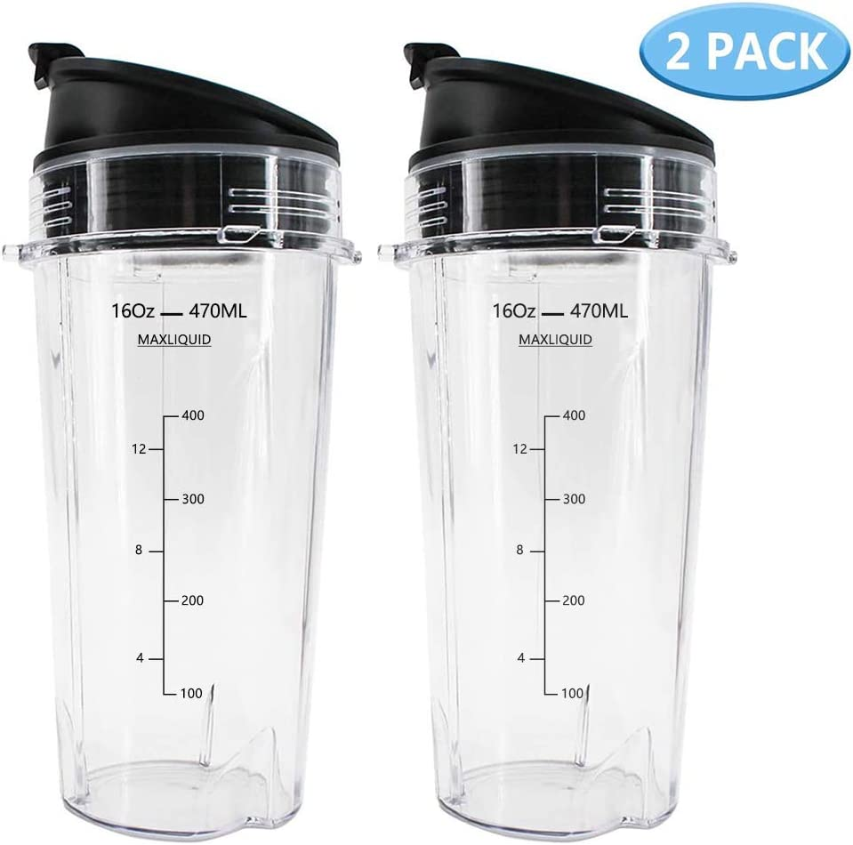 16oz Blender Cups Set for Ninja, Ninja Nutri 16oz Replacement Cups with Sip & Seal Lid Compatible with BL770 BL780 BL660 for Nutri Ninja Auto IQ Series Blenders (Pack of 2)