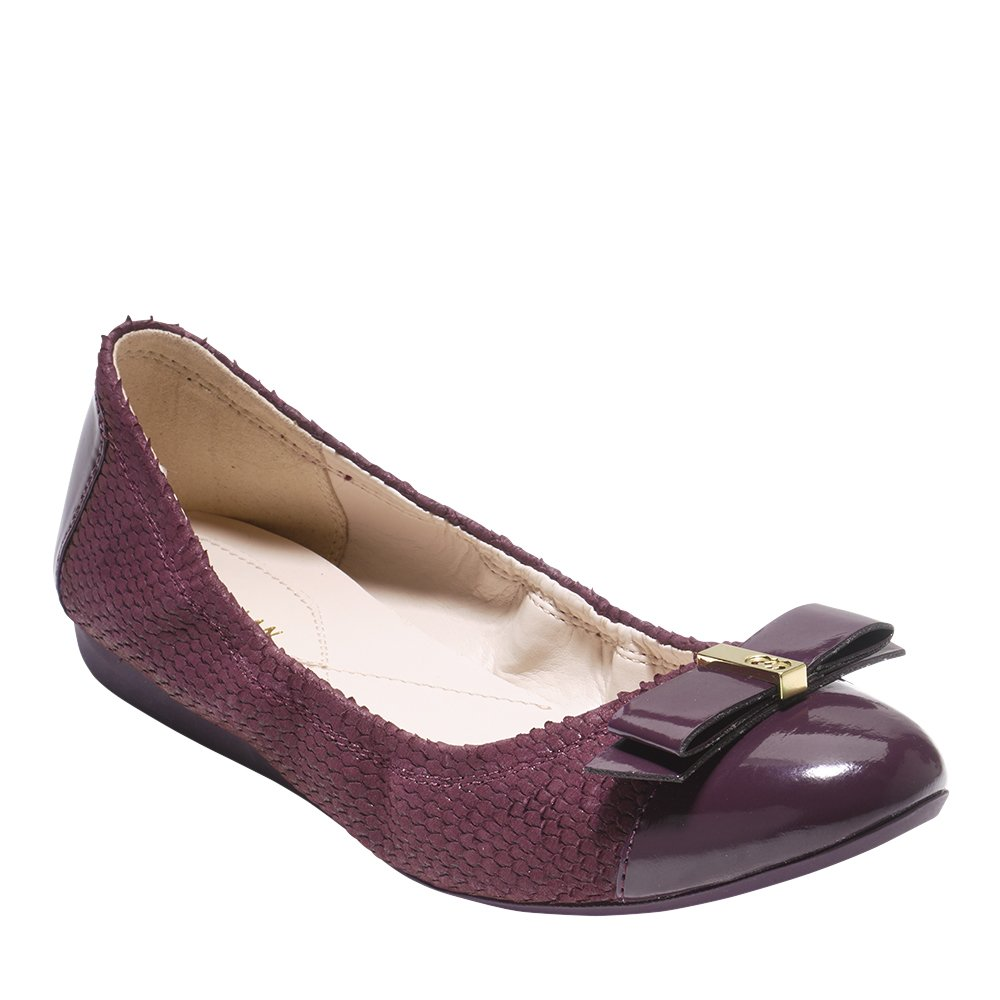Cole Haan Womens Elsie Ballet Flat 7.5 Fig Embossed Suede-leather