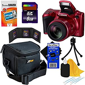 Canon Powershot SX410 IS 20 MP Digital Camera with 40x Optical Zoom and 720p HD Video (Red) + 7pc Bundle 8GB Accessory Kit w/ HeroFiber Ultra Gentle Cleaning Cloth