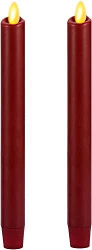 Ksperway 8 Set of 2 Burgundy Unscented Wax Flameless Taper Candle with Moving Wick,Timer and Remote