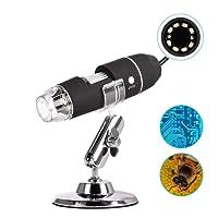 Microscopio Digital 40 a 1000X, con 8 Luces LED Microscopio Endoscopio Digital, Mini Cámara y Metal Soporte, Portátil Lupa Electrónica Multifuncional USB Conecte Windows PC, Mac PC y Tableta