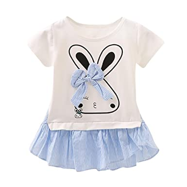 ShiTou Newborn Girls Rabbit Cartoon Sleeveless Outfits Romper (Blue, 80)