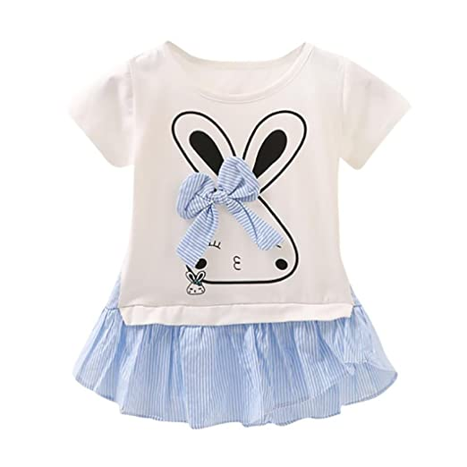 ShiTou Newborn Girls Rabbit Cartoon Sleeveless Outfits Romper (Blue, 70)