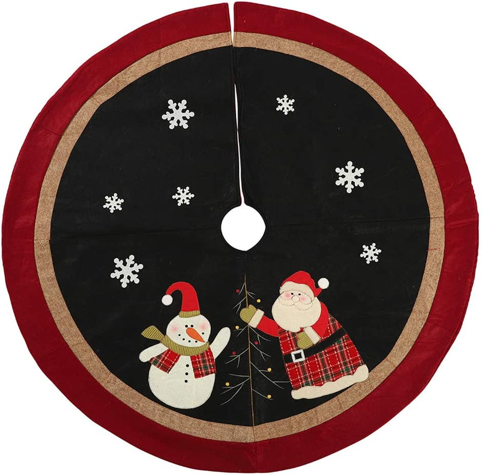 Amazon Com Vctops 48 Christmas Tree Skirts Santa Snowman Design Large Tree Skirt With Burlap And Red Border For Xmas Holiday Decoration Cartoon Diameter 48 Home Kitchen