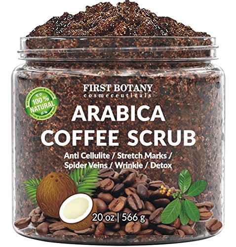 100% Natural Arabica Coffee Scrub with Organic Coffee, Coconut and Shea Butter - Best Acne, Anti Cellulite and Stretch Mark treatment, Spider Vein Therapy for Varicose Veins & Eczema (20 oz)