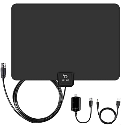 1byone TV Antenna 50 Mile Range Amplified HDTV Antenna with Detachable Amplifier Signal Booster USB Power Supply and 10 Feet Highest Performance Coaxial Cable-Black