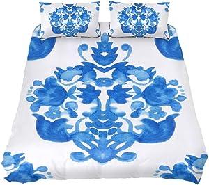 TIZORAX Ornamental Damask Comforter Set and Decorative Pillows Shams, Queen, All-Season Bedspread Three-Piece Bedding