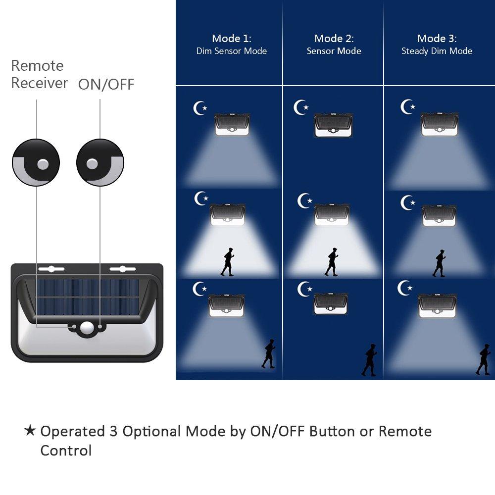 Foco Solar,Luces Solares para Exterior,FUNANASUN 68 LED Lámpara Solar con Sensor de Movimiento,Gran Ángulo 120°,Impermeable IP65,más de 30 horas con 3 Modos ...