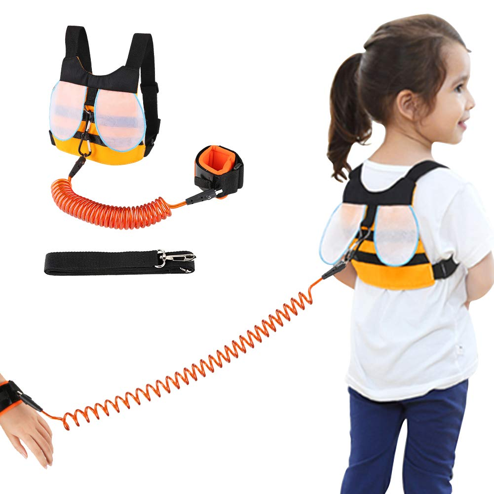 Accmor Kid Safety Harness Leash, Cute Baby Anti Lost Safety Harness + Anti Lost Wrist Link, Toddler Safety Leash & Harness for 1-5 Years Boys and Girls to Zoo or Mall