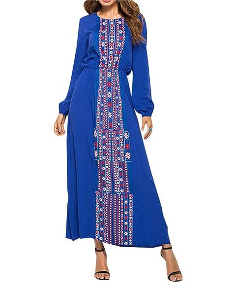 3f659212e5 Abaya Musulmana Vestidos Maxi Mujer - Kaftan Manga Larga Ropa Arabe Largo  Algodon  Amazon.es  Ropa y accesorios