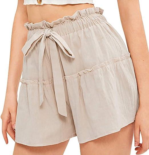 Ete Short Large Short Décontracté Taille Haute Pantalon Yoga