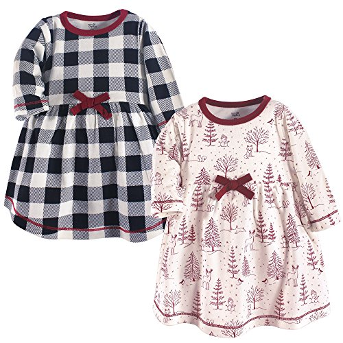 Touched by Nature Baby Girl Organic Cotton Dresses, Winter Woodland Long Sleeve 2-Pack, 2 Toddler (2T) -